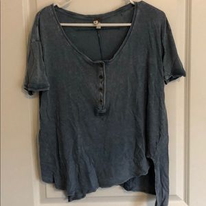 Free People blue Henley t shirt
